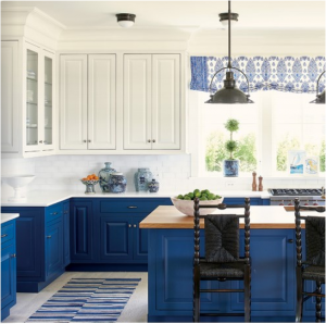 kitchen-design-in-newnan-ga-cobalt-blue-base-cabinets-ivory-top-cabinets-butcher-block-island
