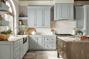kitchen-remodel-in-Newnan-ga-kraftmaid-seafoam-blue-maple-cabinets-kitchen-island